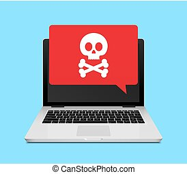 Computer laptop virus fraud or spam notification. Internet ...