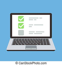 Computer laptop with online quiz form checklist on screen. Choice and survey vector cartoon concept