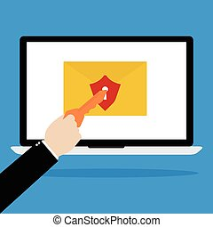 Computer laptop with red shield email and keyhole with human hands with key for unlock the protection on blue background. Flat design of cyber crime technology concept design.