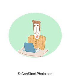 computer, lavorativo, uomo