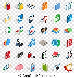 Computer learning icons set, isometric style