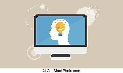 Computer Light bulb in head