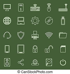 Computer line icons on green background