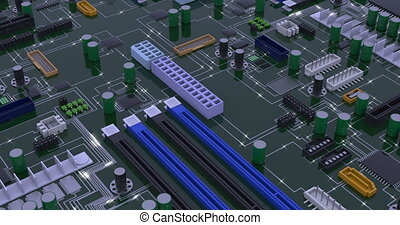 Computer macro mother board realistic footage. Circuit diode signals transferring rendering animation. Motherboard with chips and CPU, PCB perspective view motion. Digital technology 4k video
