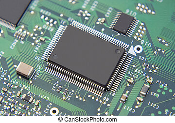 A shot of a new computer mother board. This image is a nice background image for print material related to computer technology.