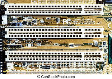 Computer mainboard detail view, closeup - Computer mainboard...