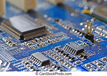 Computer mainboard with many electronic components