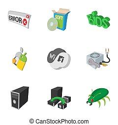 Computer maintenance icons set, cartoon style