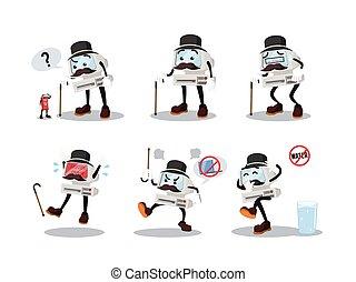 computer man cartoon set