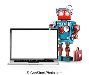 computer, manutenzione, concept., isolated., contiene, percorso tagliente