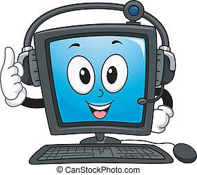Computer Mascot - Mascot Illustration of a Computer Monitor...