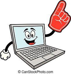 Computer Mascot with a Foam Hand