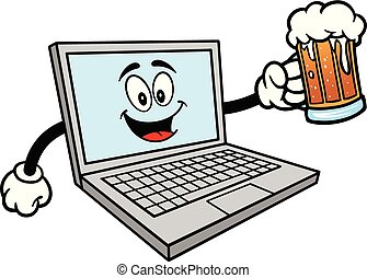 Computer Mascot with a mug of Beer