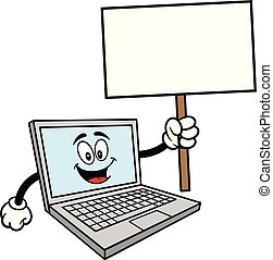 Computer Mascot with a Sign