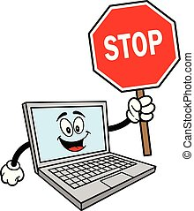 Computer Mascot with a Stop Sign