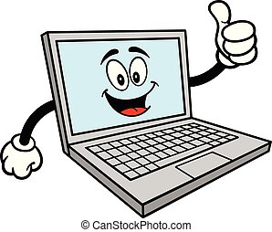 Computer Mascot with Thumbs Up