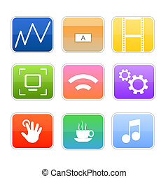 Computer media glossy icons