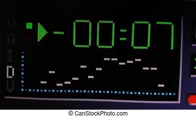 Computer media player countdown close up with audio spectrum analyzer. 4k footage