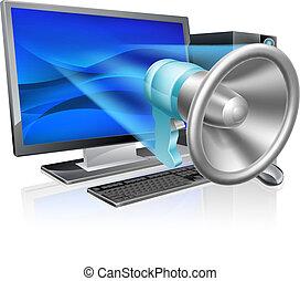 computer, megafono, concetto