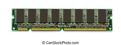 Computer memory card chip on white background