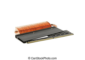 Computer memory modules with cooling heatsink on the white background