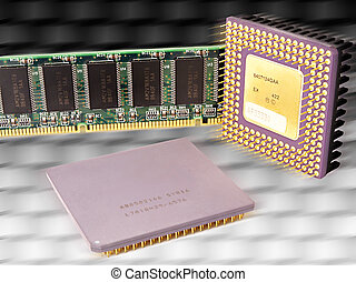 Computer microchips background - hi tech background