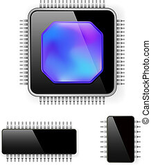 Computer microcircuit. Illustration on white background for...