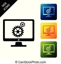 Computer monitor and gears icon isolated. Monitor service concept. Adjusting app, setting options, maintenance, repair, fixing monitor concepts. Set icons colorful square buttons. Vector Illustration