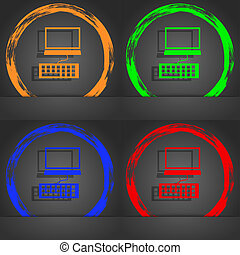 Computer monitor and keyboard Icon. Fashionable modern style. In the orange, green, blue, red design.