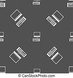 Computer monitor and keyboard Icon. Seamless pattern on a gray background. Vector