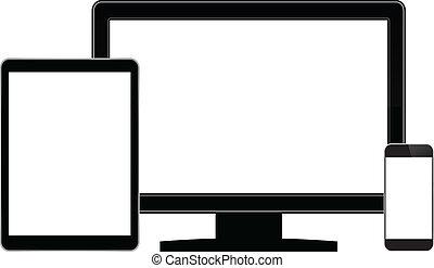 Modern Communication Gadgets - Computer Monitor And Modern...