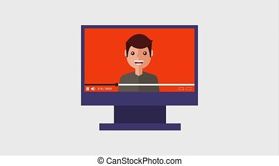 computer monitor clicking button play video man talk