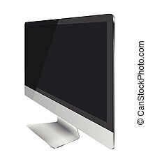 Computer monitor display with black screen isolated on white background.
