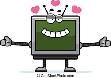 Computer Monitor Hugging - A cartoon illustration of a...