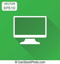 Computer monitor icon. Business concept tv screen pictogram. Vector illustration on green background with long shadow.
