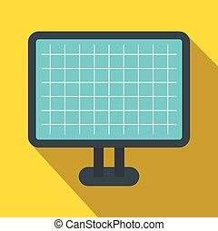 Computer monitor icon, flat style
