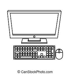 computer monitor icon - simple line design computer monitor...