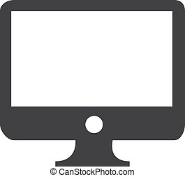 Computer monitor icon in black on a white background. Vector illustration