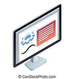 Computer monitor icon, isometric style