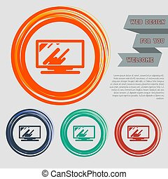 Computer, monitor icon on the red, blue, green, orange buttons for your website and design with space text. Vector