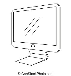 Computer, monitor isolated on white background. Vector illustration