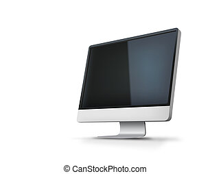 Computer monitor isolated - Vector illustration of big...
