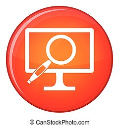 Computer monitor magnifying glass icon, flat style