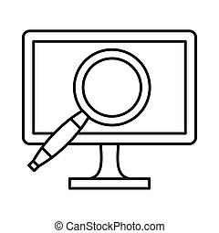 Computer monitor magnifying glass icon