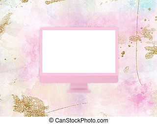 Computer monitor mockup template on brush painting background