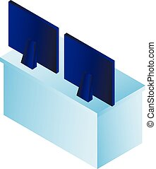 Computer monitor on table icon, isometric style