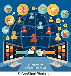 Internet Connection, Online Shopping, E-Commerce Concept, Set