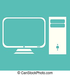 Computer monitor PC icon white isolated on blue background vector illustration