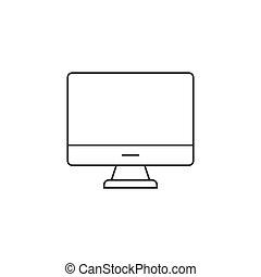 Computer monitor thin line icon