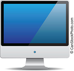 Vector illustration of computer monitor over white